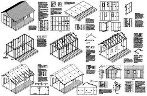 12/' x 16/' Cottage//Cabine Cabane avec porche plans #81216