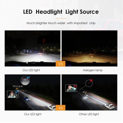 4x Combo H11 H7 LED Headlight Bulbs Kit High Low Beam Total 2640W 396000LM 6000K
