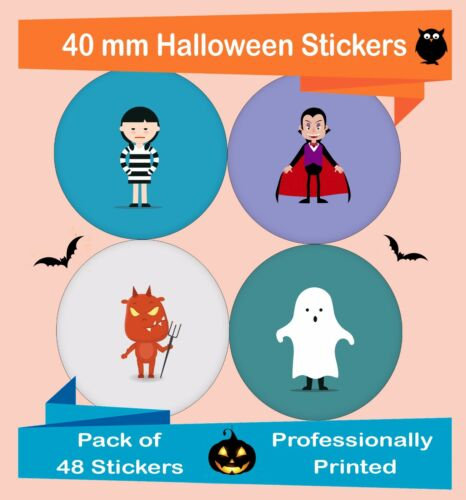 48-Pack 40 mm Halloween labels house decor stickers colorful Spooky Hal04