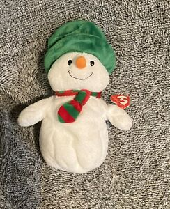 """Ty Beanie Babies Buddies 9"""" Mr Snow Snowman Pluffies Holiday Christmas Plush- T7"""