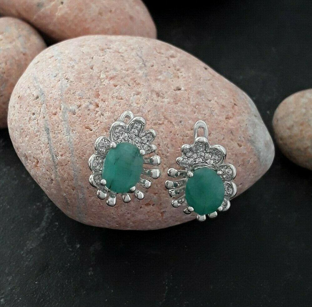 AGNES CREATIONS  Magnifique Boucles d oreilles Créateur silver 925 & Emeraude