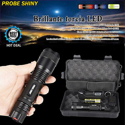 18650 X800 XM-L T6 LED Tactical Zoomable Flashlight Torch Light Lamp Charger