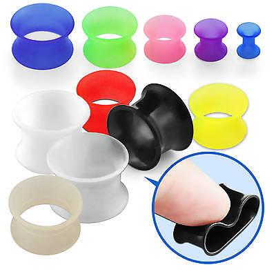 "U Pick Double Flared Soft Flexible Earring Gauge Pair Circle Ear Plug 8g-9//16/"""