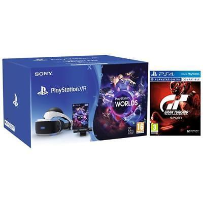 SONY Playstation VR + Playstation Camera V2 + VR Worlds + GT Sport