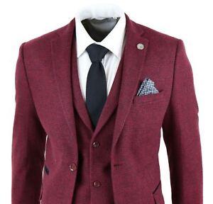 Mens-Wine-Maroon-Check-Herringbone-Tweed-Vintage-Tailored-Fit-3-Piece-Suit-Smart