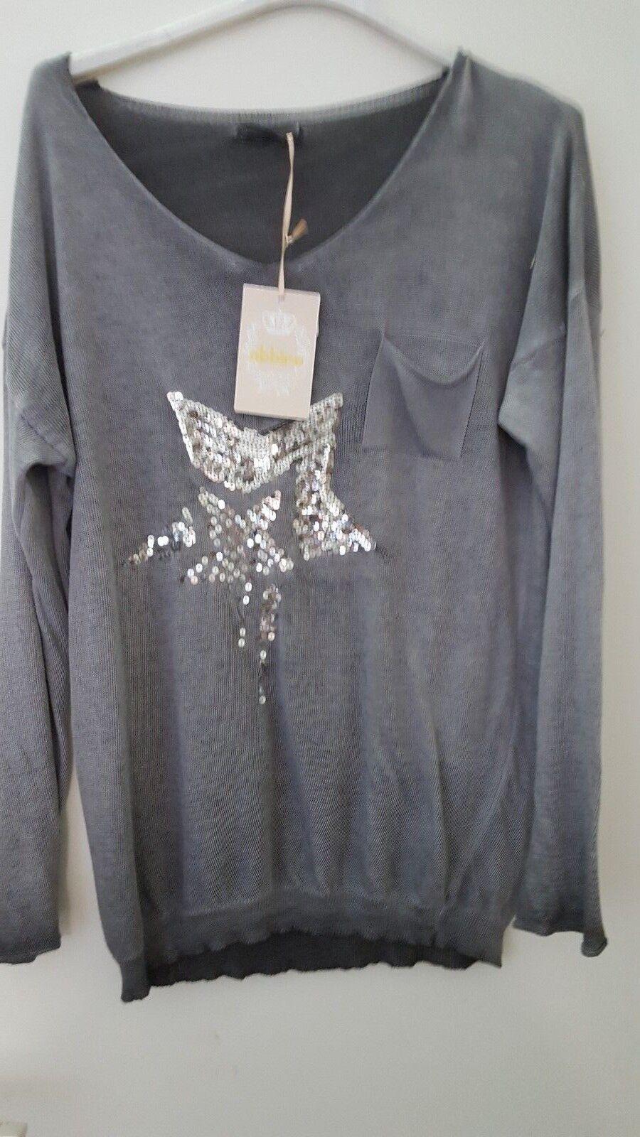 ITALY Style Shirt Maglione Manica Lunga Pullover Grigio Stella taglia unica 34, 36, 38, 40