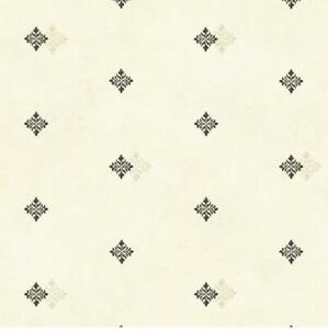 Wallpaper-Black-and-Beige-Neutrals-Diamond-Medallion-on-Off-White-Faux-Finish