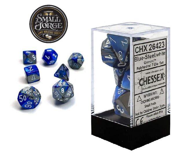 Chessex CHX26423 Gemini Blue Steel with White, 7-Die D&D Set & Box - NEW