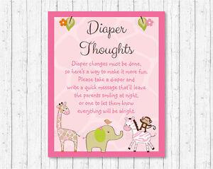 Safari Girl Jungle Animals Diaper Thoughts Late Night Diaper Baby