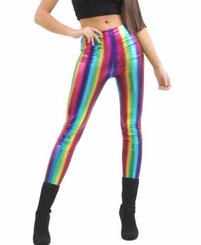 Ladies Dance Wear Rainbow Shiny Metallic Leggings Women Party Wear Stretch Pants