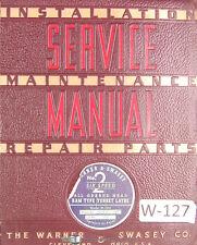 Warner Amp Swasey 2 Turret Lathe M 1330 Lot 99 Service Parts Manual 1946