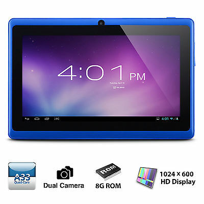 "7"" Tablet PC Quad Core Google Android 4.4 KitKat 8GB WIFI 7 Inch HD tablet Blue"