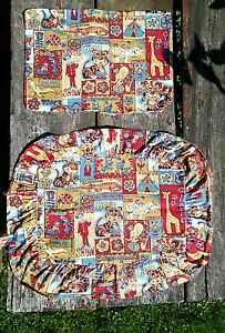 Vtg-PAIR-Barkcloth-1930-039-S-PILLOW-Cases-Child-Nursery-Animals-Circus-theme-NICE