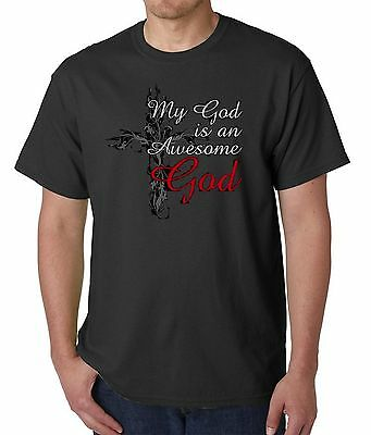 MY GOD IS AN AWESOME GOD CHRISTIAN T-SHIRT BLACK SIZE MED CLEARANCE SALE