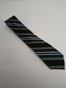 DKNY-Mens-Grey-Striped-100-Silk-Classic-Fit-Tie