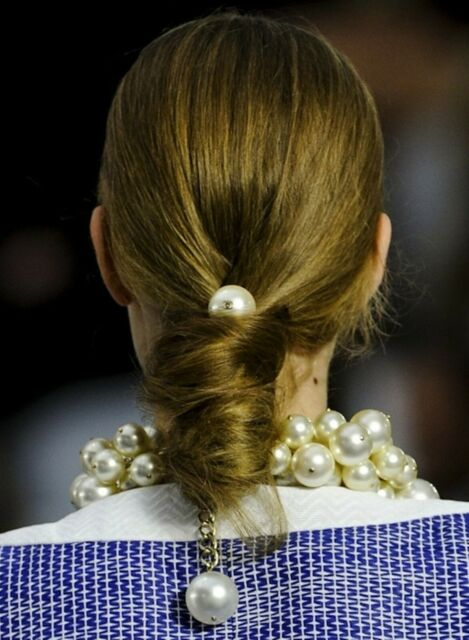 New Handmade Jumbo White Pearl Elastic Hair Tie Hair Accessories