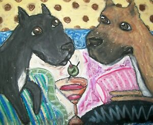 CANE-CORSO-Drinking-a-Martini-Dog-Pop-Folk-Vintage-Art-8-x-10-Signed-Print