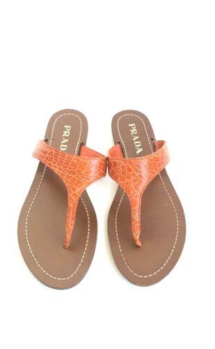 Prada Orange Alligator Sandals Size 5