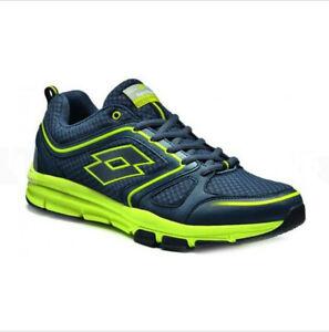 Scarpe-Lotto-Andromeda-R0502-Moda-Uomo-Sport-Sneakers-Blu-Giallo-Fluo-Tela