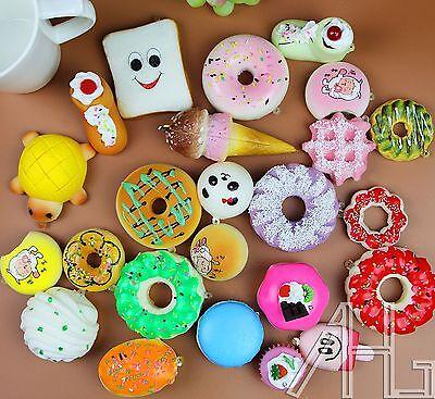 20PCS Random Soft Kawaii Panda Toasts Donuts Squishy Bread Keychain Charm Strap