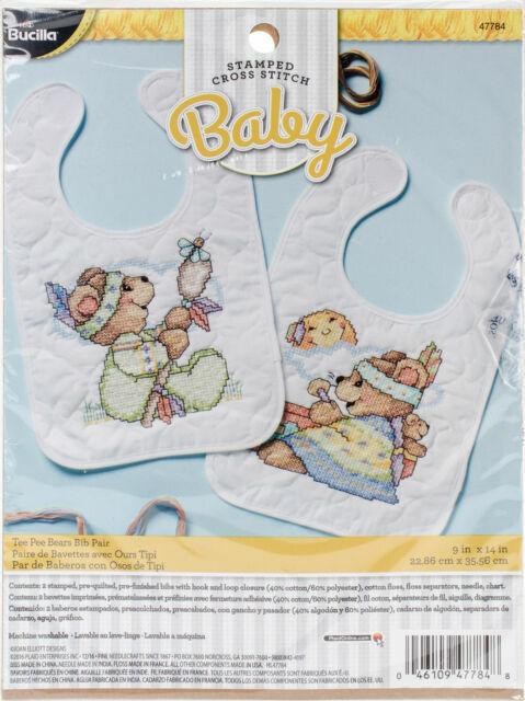 Bucilla 47784 Tee Pee Bears Stamped Cross Stitch Kit 9x 14 Bib Pair