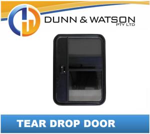 Tear Drop Door with Fly Screen & Sliding Window - Caravan, Campervan, Trailer