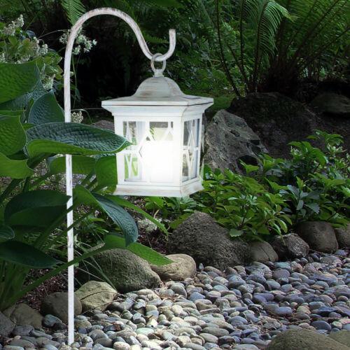 LED Solar Laterne Garten Steck Leuchte Landhaus Erdspieß Feuereffekt Außen Lampe