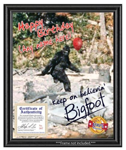 Happy Birthday Party Gag Gift Wall Decor Personalized Bigfoot Autograph Photo
