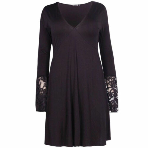 Ladies Womens Plus Size Lace Detail Long Sleeve Attractive Skater Dress Top16-24