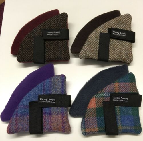 Harris Tweed équitation Chapeau Oreille Manchons//Warmers Tweed Bleu Baby Blue Fleece Back