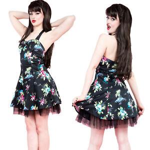BLACK-PALM-TREE-HALTER-NECK-MINI-DRESS-by-HEARTS-amp-ROSES-ALTERNATIVE-Size-10