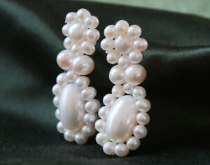 B12-Earrings-Freshwater-Pearls-Bloom-Ornament-Sterling-Silver-925