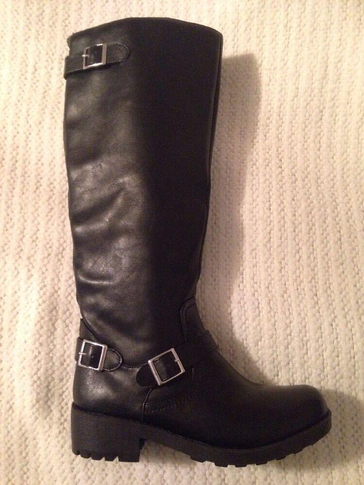 Women's Mossimo Buckle / Biker Zipped Over Calf Round Toe Boots Black #17730