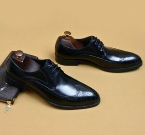 Brogue Mens Chunky Formal Dress Lace Up Leather Wing Tip Business Oxfords Shoes