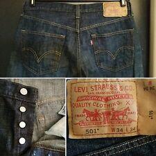 LEVIS 501 XX Jeans Mens Size 34 Button Fly Dark Denim Redline Leather Label