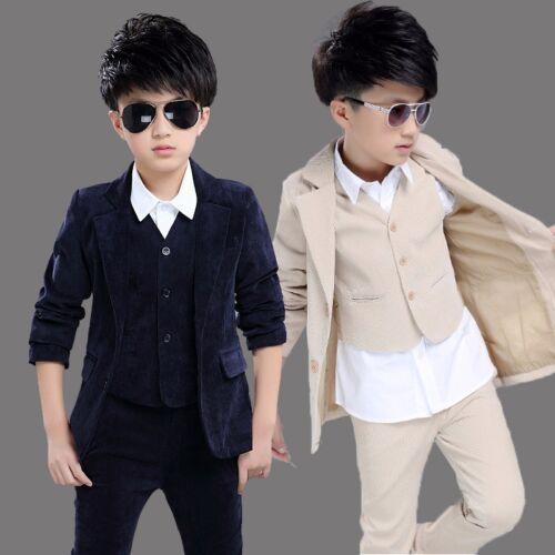 3PCS Kid Boy Blazer Suit Set Coat Jacket Vest Pant Formal Wedding Tuxedo Outfits