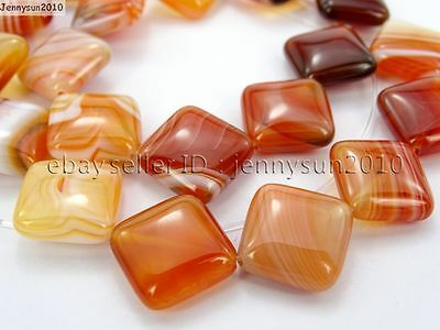 Red Carnelian Natural Agate Gemstone Diagonal Square Loose Beads 15'' Strand