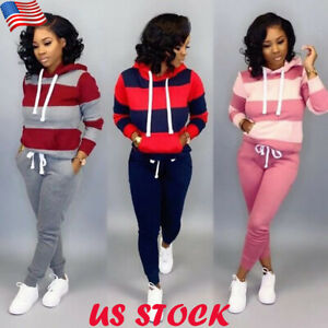Women-039-s-2PCS-Tracksuits-Ladies-Sport-Lounge-Wear-Striped-Hooded-Tops-Pants-Suits