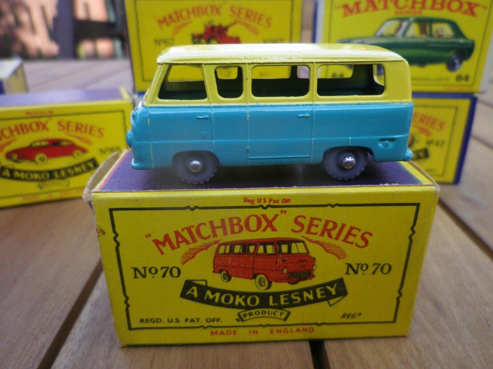 MATCHBOX LESNEY 70 THAMES NO WINDOWS ROUES gris PLASTIC WHEEL BOITE D'ORIGINE B5