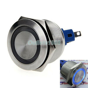Blue Plastic LED Momentary 22mm Push Button Switch 12V SPST Waterproof