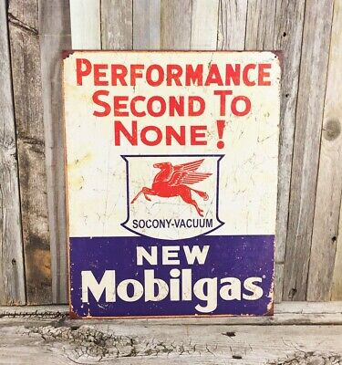 "New MOBILGAS Pegasus ""Performance Second to None!"" Vintage Tin Metal Sign"