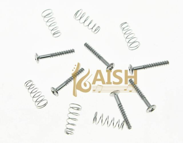 Set Of 6 Single Coil Pickup Screws And Springs For Strat Chrome For