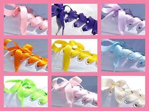 White-amp-Colour-Ribbon-Shoe-Laces-4-Customised-Blinged-Sparkly-Converse-Lo-Hi-AG