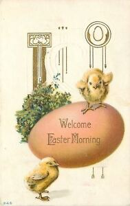 Easter-Morning-Yellow-Chicks-on-Huge-Pink-Egg-Gold-Leaf-Art-Nouveau-Emboss-1912