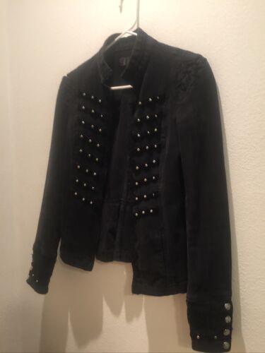 Tripp Nyc 97% Cotton Women Jacket Black Zipper Mil