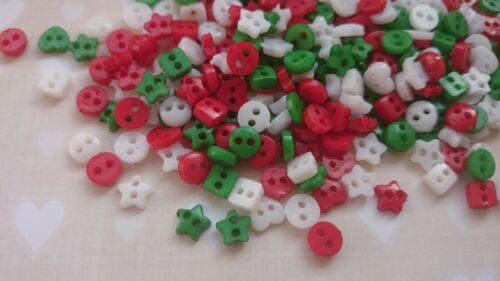 Mixed Christmas Colour 25 Doll Craft Sewing 50 Tiny Baby 6mm Mixed Buttons