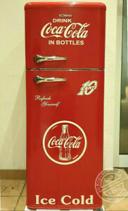 Retro-Kuehlschrank-Gefrierkombination-Rot-Coca-Cola-K2B-DTR-353-A-Neue-Griffe