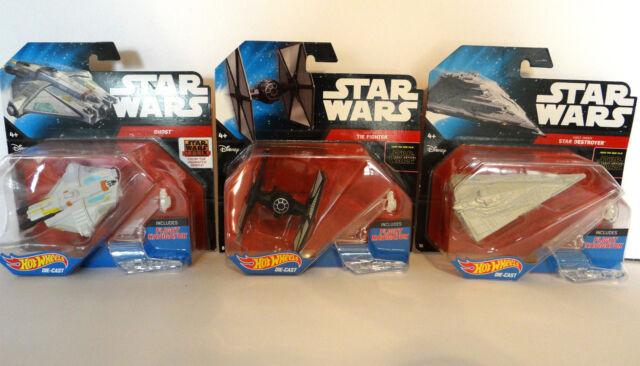 Hot Wheels Star Wars Force Awakens and  Animated Series 3 Starships NIP