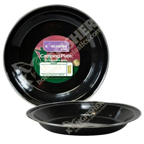 2 or 4 Black Enamel Finish Tin Camping Garden Outdoor Plates