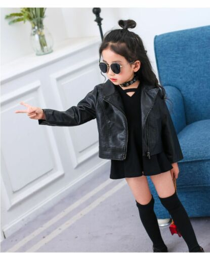 Kids Baby Girls Fashion PU Jacket Black Leather Coat Turn-Down Collar Outerwear